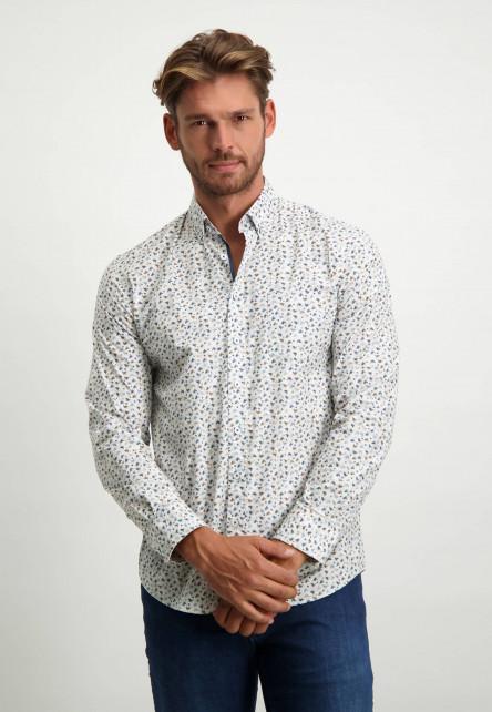Biologisch-katoenen-overhemd-met-print---donkerblauw/zilvergrijs