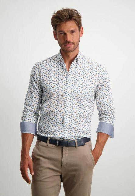 Poplin-overhemd-van-biologisch-katoen---donkerblauw/kobalt
