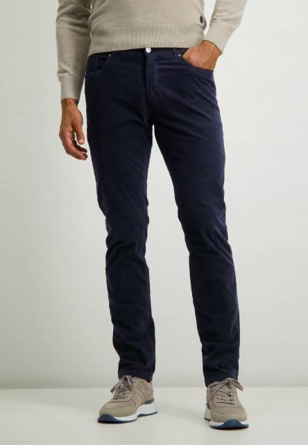 Katoenen-stretchbroek-met-regular-fit---donkerblauw-uni