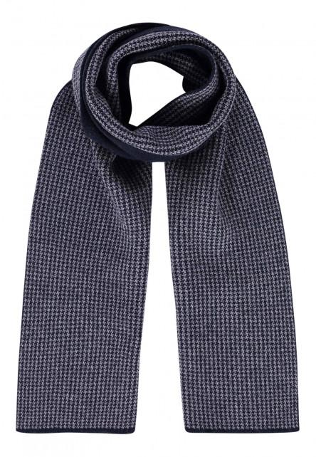 Écharpe-imprimé---blue-foncé/gris-argenté