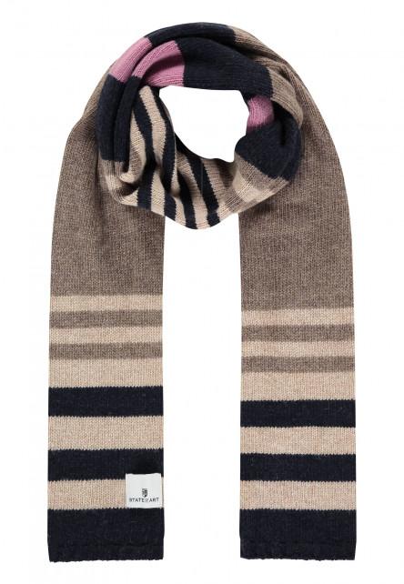 Gestreepte-sjaal-met-lamswol---sepia/donkerblauw
