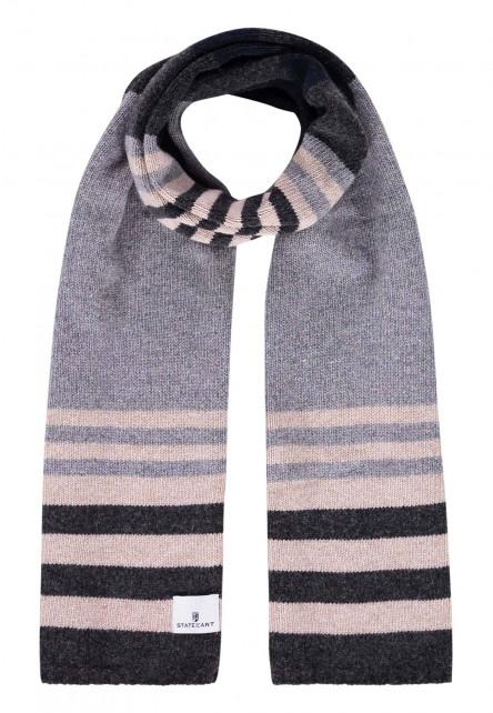 Gestreepte-sjaal-met-lamswol---zilvergrijs/donkerantracit