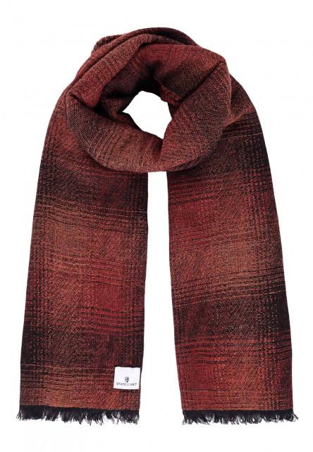 Sjaal-met-franjes-aan-de-uiteinden---brique/donkerblauw