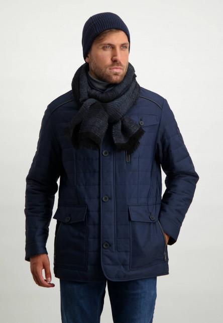 Sjaal-met-franjes-aan-de-uiteinden---donkerblauw/grijsblauw