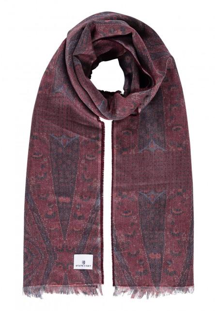 Sjaal-met-korte-franjes---brique/donkerblauw