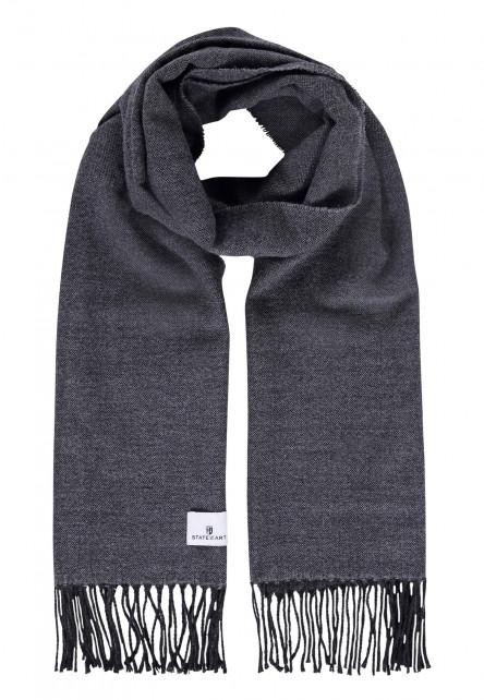 Effen-sjaal-met-lange-franjes---zilvergrijs/donkerantracit