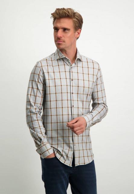 Chemise-à-imprimé---gris-argenté/cognac
