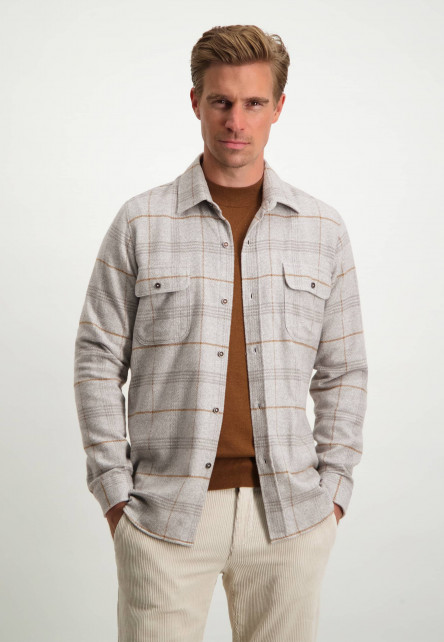 Modern-Classics-overshirt-van-katoen---wit/zilvergrijs