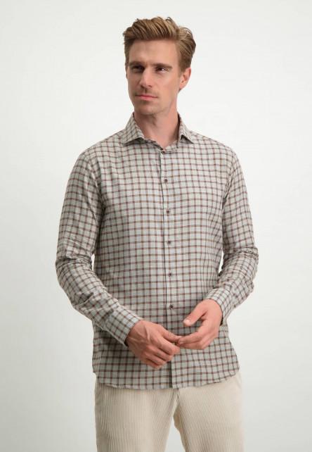 Chemise-à-carreaux---gris-argenté/cognac