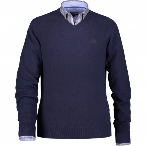 Pull-col-v-à-manches-selle