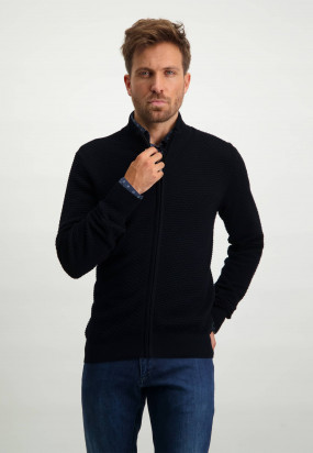 Vest-met-hoge-kraag-en-regular-fit---donkerblauw-uni
