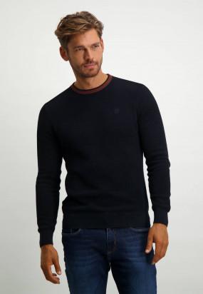 Katoenen-trui-met-logo-op-de-borst---donkerblauw-uni