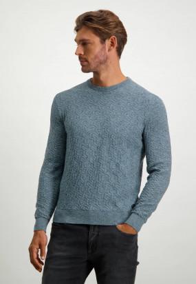 Katoenen-trui-met-regular-fit---donkerblauw/grijsblauw
