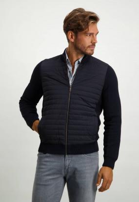 Regular-fit-vest-met-nylon-details---donkerblauw/donkerblauw