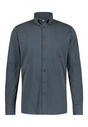 Katoenen-overhemd-met-print---donkerblauw/cognac