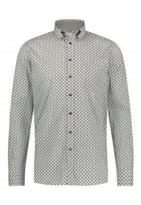 Overhemd-met-een-all-over-print---donkerblauw/cognac