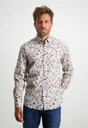 Bedrukt-overhemd-van-biologisch-katoen---oud-roze/sepia
