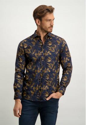 Biologisch-katoenen-overhemd---donkerblauw/cognac