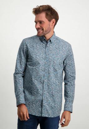 Chemise-à-imprimé---blue-foncé/cognac