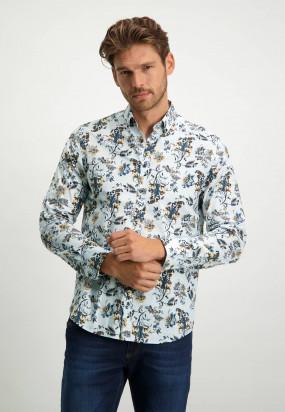 Poplin-overhemd-van-biologisch-katoen---donkerblauw/cognac