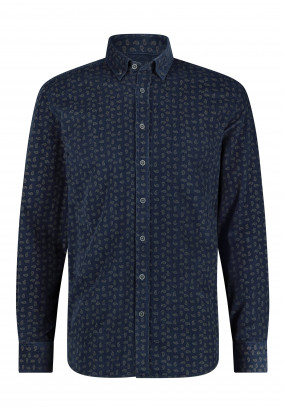 Overhemd-met-paisleyprint---donkerblauw/sepia