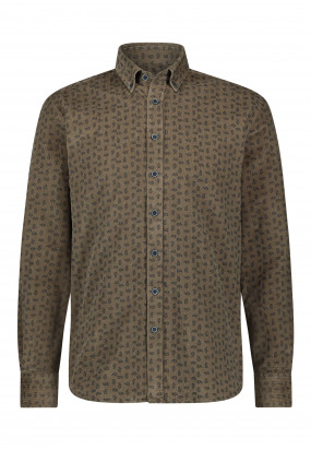 Overhemd-met-paisleyprint---sepia/donkerblauw