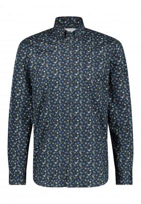 Biologischkatoenen-overhemd-met-borstzak---bladgroen/donkerblauw