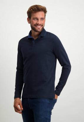 Polo-Jersey-manches-longues-uni---blue-foncé-uni
