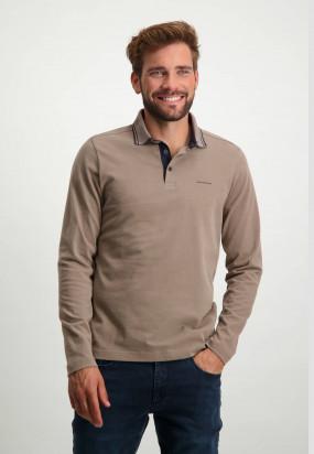 Polo-Jersey-manches-longues-uni---sépia-uni