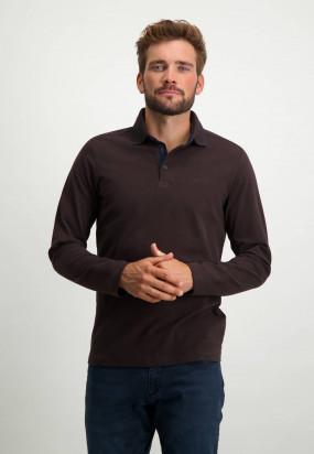 Polo-Jersey-manches-longues-uni---brun-foncé-uni