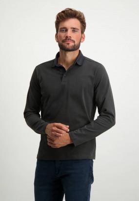 Polo-Jersey-manches-longues-uni---anthracite-foncé-monochrome