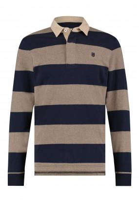 Polo-de-Rugby-à-rayures---cognac/blue-foncé