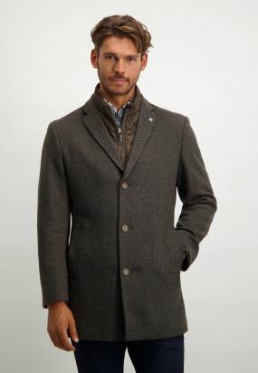 Manteau-à-rayures---anthracite-foncé/gris-argenté