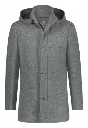Manteau-Lanificio-Romaavec-capuche---gris-argenté-monochrome