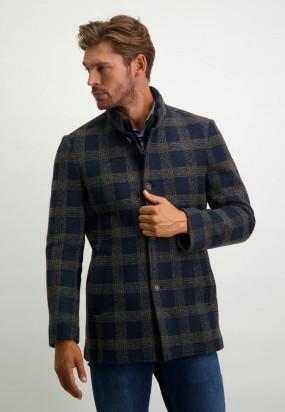 Manteau-Lanificio-Romaavec-motif-à-carreaux---blue-foncé/sépia