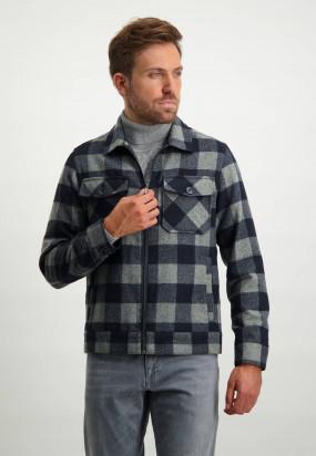 Manteau-à-carreaux---blue-foncé/gris-argenté
