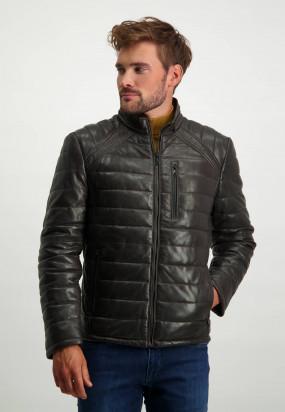 Manteau-cuir---brun-foncé-uni