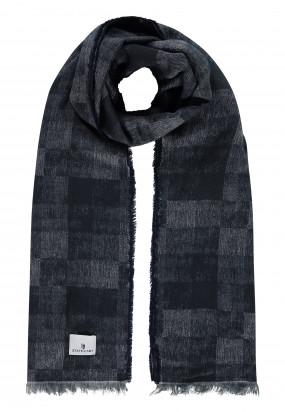 Sjaal-met-ruitmotief-en-franjes---donkerblauw/grijsblauw