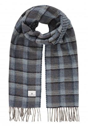 Sjaal-met-ruitmotief-en-logopatch---middenblauw/donkerblauw