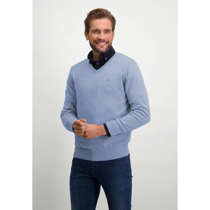V-hals-trui-van-biologisch-katoen---middenblauw-uni