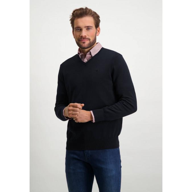 V-hals-trui-van-biologisch-katoen---donkerblauw-uni