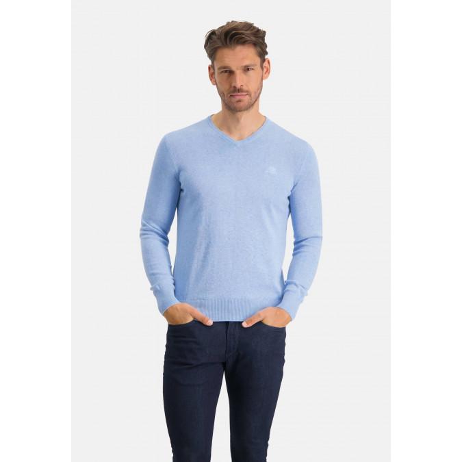 V-hals-trui-met-regular-fit---middenblauw-uni