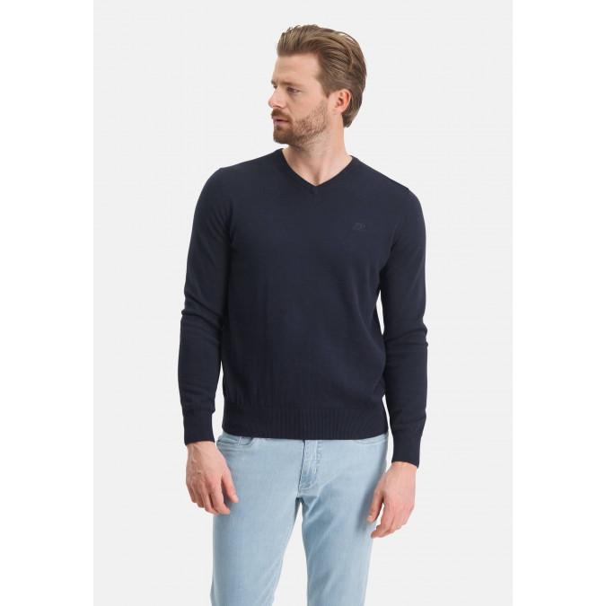 V-hals-trui-met-regular-fit---donkerblauw-uni