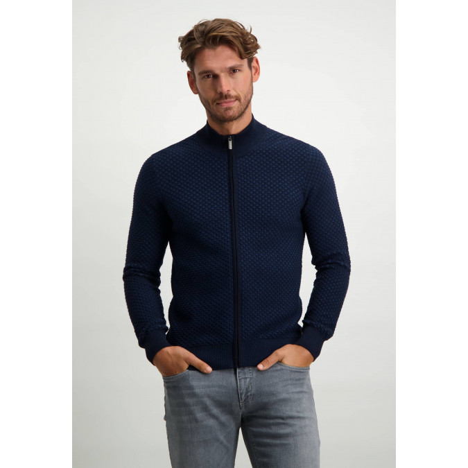 Vest-met-rits-van-100%-katoen---kobalt/donkerblauw