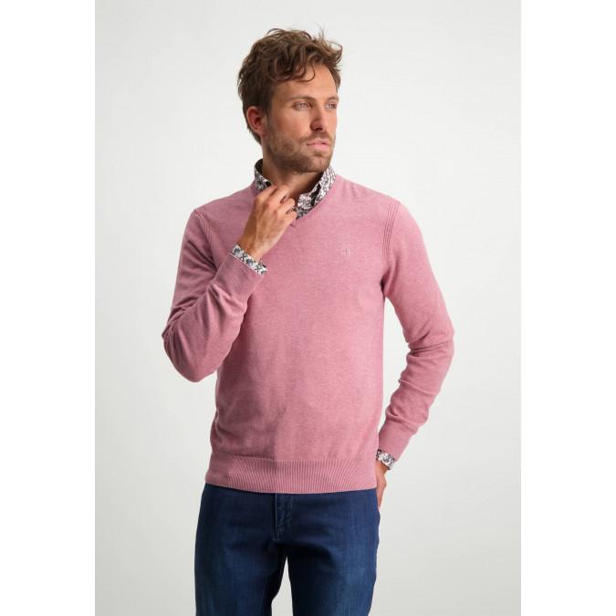 V-hals-trui-van-biologisch-katoen---oud-roze-uni