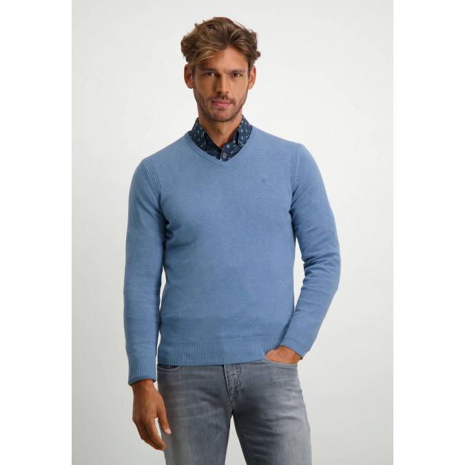 V-hals-trui-van-biologisch-katoen---grijsblauw-uni