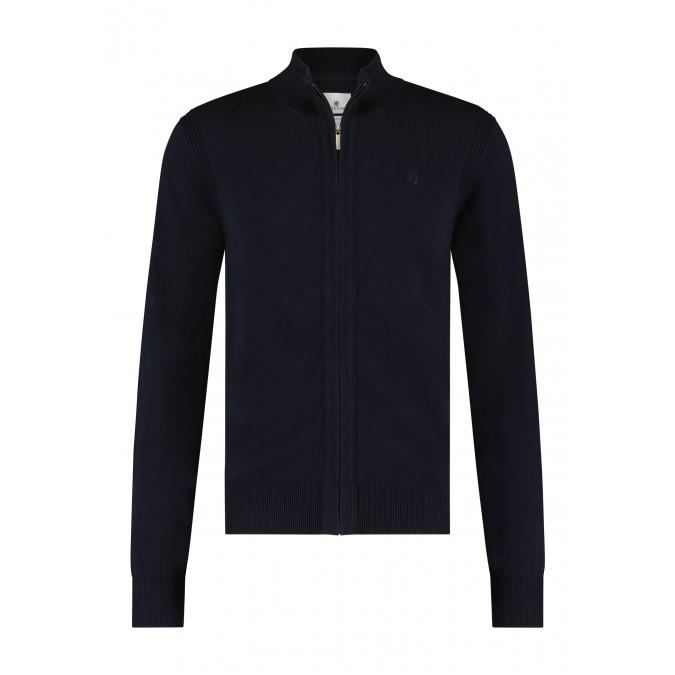 Vest-met-rits-van-biologisch-katoen---donkerblauw-uni