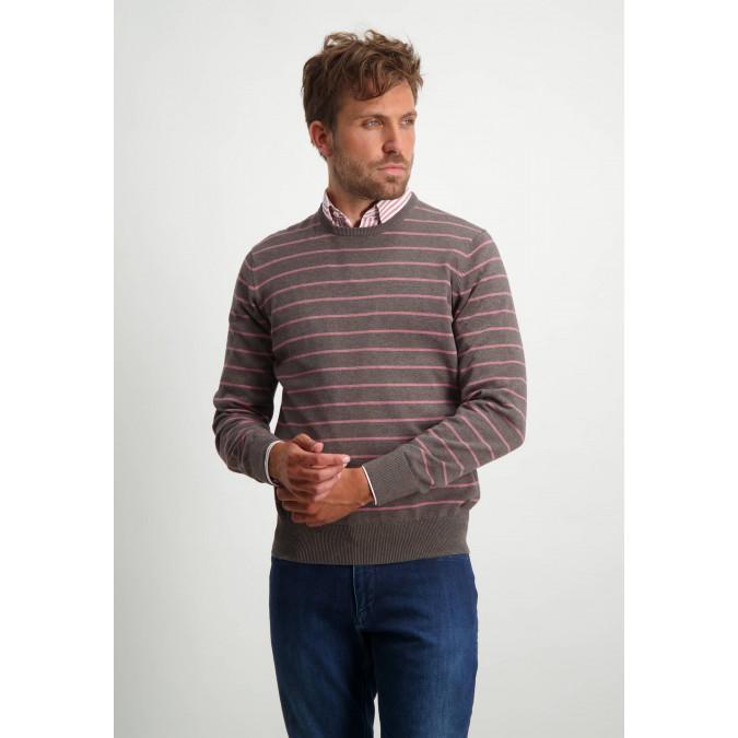 Katoenen-trui-met-strepen---sepia/oud-roze