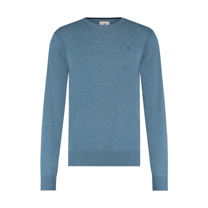 R-hals-trui-van-biologisch-katoen---grijsblauw-uni