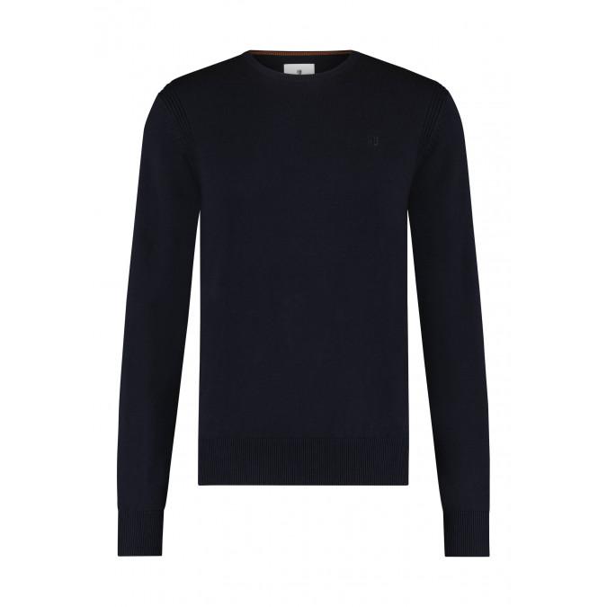 R-hals-trui-van-biologisch-katoen---donkerblauw-uni